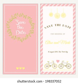 Two sides of the wedding invitation with bicycle