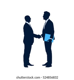 Two Silhouette Businessman Hand Shake, Business Man Handshake Agreement Concept Flat Vector Illustration