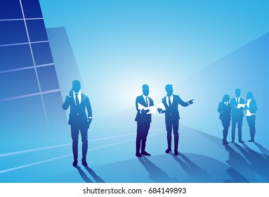 Two Silhouette Businessman Talking Discussing Contract Over Working Business People Group Meeting Concept Vector Illustration