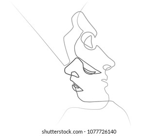 Two silhouettes of people drawn with one line. Simple vector illustration. Isolated on a white background.