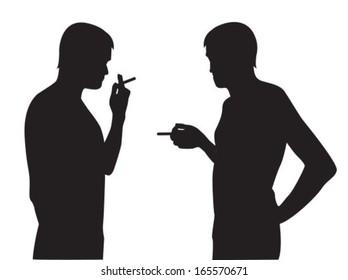 Two silhouettes of smoking men on a white background