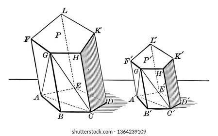 Two similar polyhedrons can be decomposed into the same number of similar tetrahedrons, each for each, and placed in a similar way, vintage line drawing or engraving illustration.