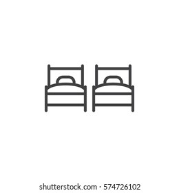 Two single beds line icon, outline vector sign, linear pictogram isolated on white. Twin room  symbol, logo illustration