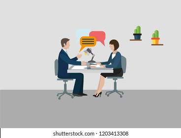 Two sitting sideways at the table business people from different spheres of activity with clouds icon over his head. Vector Illustration Man and woman chatting.  Could be used for blogs, social media.