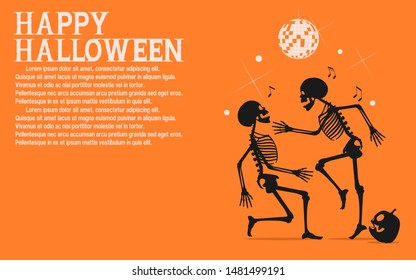 Two skeletons are dancing in the Halloween night party.