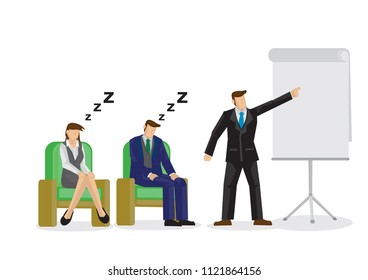 Two sleepy and bored employees at a business speaking presentation. Showing a problem and failure in the company culture. Vector isolated illustration.