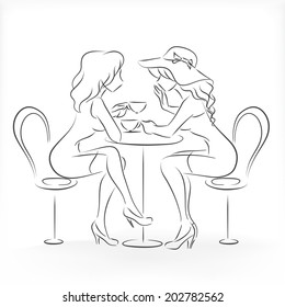 Two slender beautiful graceful young ladies sit in cafe, whisper and drink coffee. Vector monochrome drawing drawn by lines