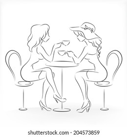 Two slender beautiful graceful young ladies sit in cafe and drink coffee. Vector monochrome drawing drawn by lines