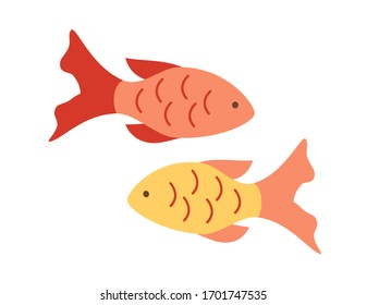 Two small colored fish. Vector illustration on a white background.