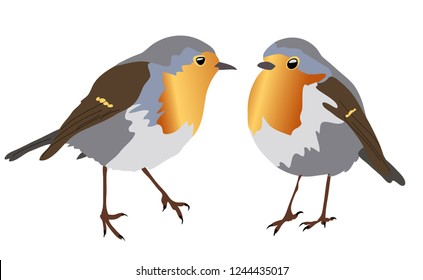 Two small robins looking at each other on a transparent background. Can be used independently of each other.