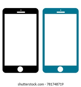 Two Smartphones in Black & Blue Isolated on White Background. Modern Flat Design. Digital Progress Concept. Vector Illustration