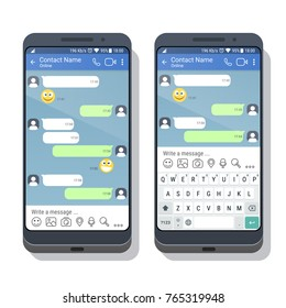 Two smartphones with social network or messenger application template with and without virtual keyboard for mobile devices on the screens. Chat or sms app interface concept. Vector illustration