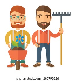 A two smiling gardener carries a plant in wheelbarrow and holding a rake. A Contemporary style. Vector flat design illustration isolated white background. Square layout