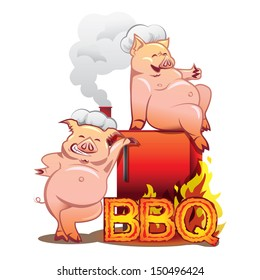 Two smiling pigs in chefs hats standing near the red smoker with burning letters BBQ