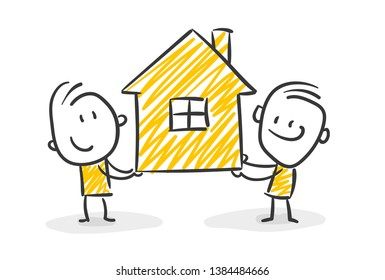 Two Smiling Stick Figures With A House In Their Hands