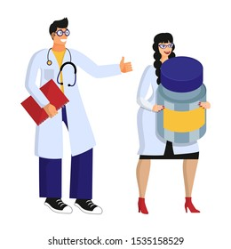 Two smiling young doctors in white medical coats. Male doctor shows a sign class, a female doctor holds an exaggerated giant jar of drugs. Isolated objects on white background. Flat cartoon vector