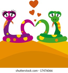 Two of snakes in love - vector illustration