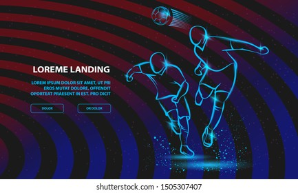 Two Soccer players fighting for the ball. Vector Football Sport Background for Landing Page Template.