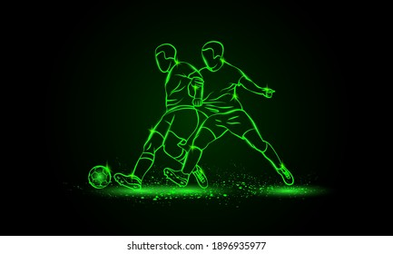 Two soccer players fighting for a ball. Green neon silhouette of a striker and defender on black background.