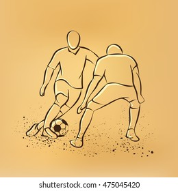 Two soccer players fighting for the ball. Forward and defender playing football. Sport vector retro drawing illustration.