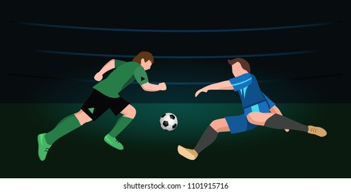 Two soccer Players in top form with the ball. Football players on dark background. vector illustration in flat style.