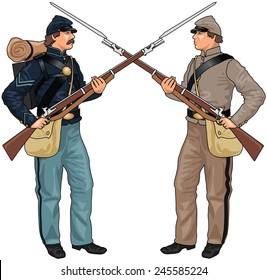 Two Soldiers From American Civil War Clashing Each Others Weapons, EPS 10 Vector