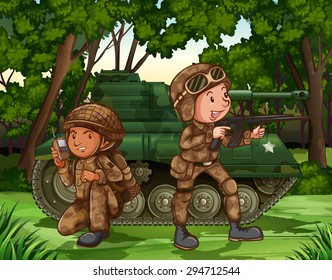 Two soldiers with armed by the tank
