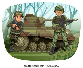 Two soldiers with rifle guns and tank in the field