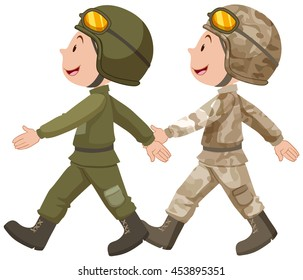 Two soldiers in uniform marching  illustration