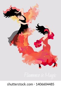 Two spanish girl danced a flamenco. Cute card or concert poster. Space for text.