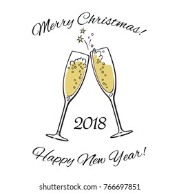 Two sparkling glasses of champagne. 2018 Merry Christmas and Happy New Year text. Hand drawn retro style vector illustration.