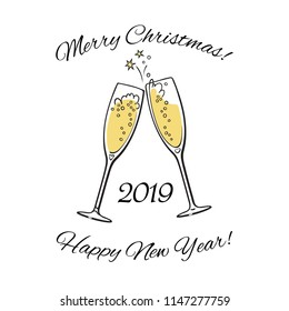 Two sparkling glasses of champagne. 2019 Merry Christmas and Happy New Year text. Hand drawn retro style vector illustration.