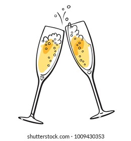 Two sparkling glasses of champagne. Retro style vector illustration isolated on white background.