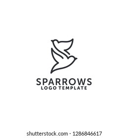 Two Sparrows flying logo template - line art logo design vector - Lettermark S