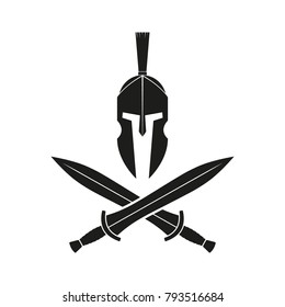 Two spartan crossed swords and helmet. Vector illustration. Isolated.