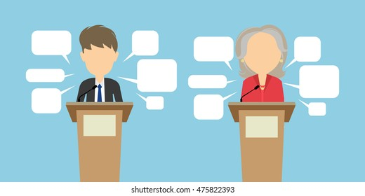 Two speakers debate. Political debates or speeches at the conference. Two speakers Trump and Clinton with speech bubbles. Election concept. Vote.