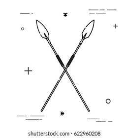Two spears crossed. Pictogram in a linear style. Linear icon. Isolated on white background. Vector illustration.