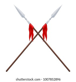 Two spears on a white background. Vector illustration of crossed traditional spears with a red flag