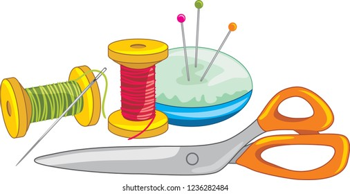 Two spools of thread with needle, dressmaking pins and scissors. Vector