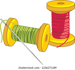Two spools of thread with needle. Vector