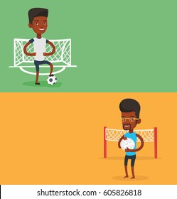 Two sport banners with space for text. Vector flat design. Horizontal layout. African sportsman holding volleyball ball in hands. Beach volleyball player standing on the background of voleyball net.