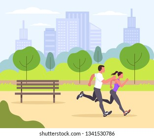 Two sporty fit people man and woman characters doing exercise and rubbing in park. Sport activity lifestyle. Vector flat cartoon graphic design isolated icon illustration