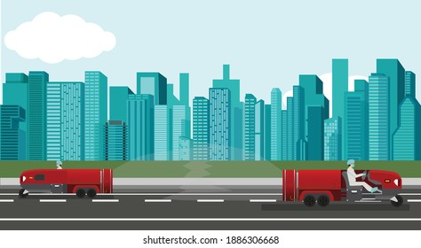 Two spray red cars with drivers to prevent coronavirus on asphalt road with big city building. Flat style vector illustration.