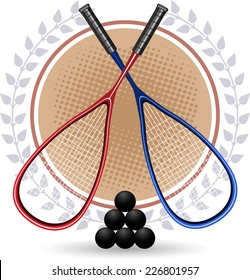 Two Squash rackets with 6 black balls and laurels vector illustration.