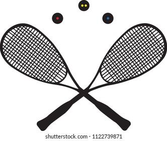 Two squash rackets and thee squash balls