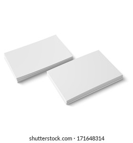 Two stack of blank business cards on white background with soft shadows. Vector illustration. EPS10.