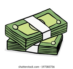two stack of green bank notes/ cartoon vector and illustration, hand drawn style, isolated on white background.