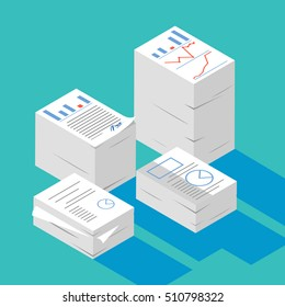 Two stacked paper,Heap of report,research,work,documents isometric flat 3d style