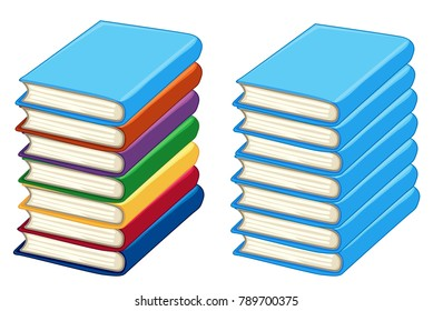 Two stacks of thick books illustration