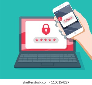 Two step authentication vector illustration, flat cartoon smartphone and computer safety login or signin, two steps verification via mobile phone and pc. Personal data security, safety Identification